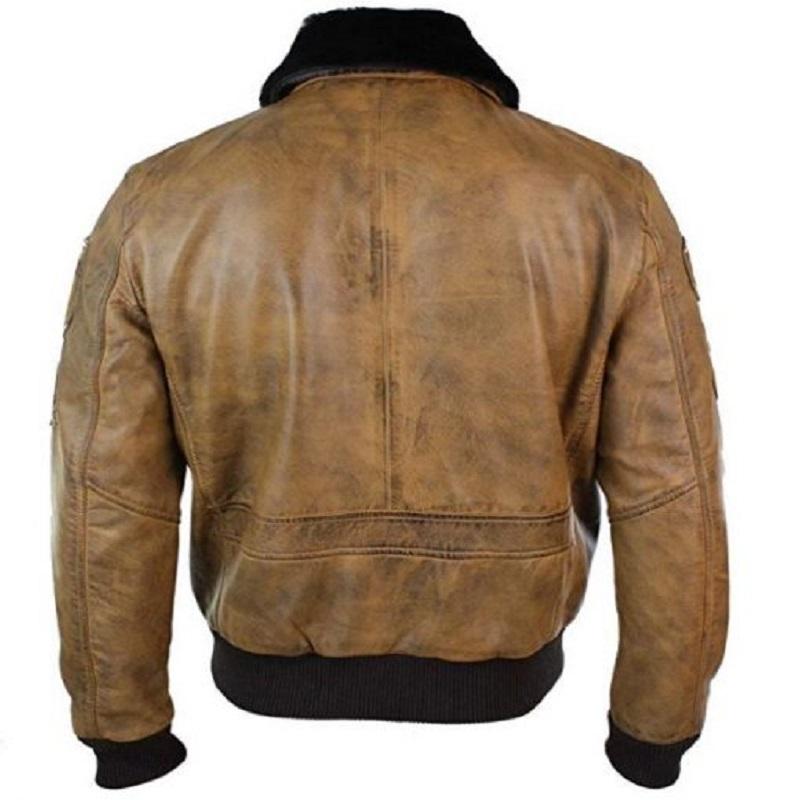 Men's Brown Leather Aviator Bomber Jacket