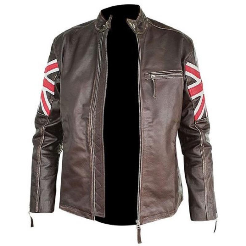 Men's Brown Union Jack Sheepskin Leather Jacket
