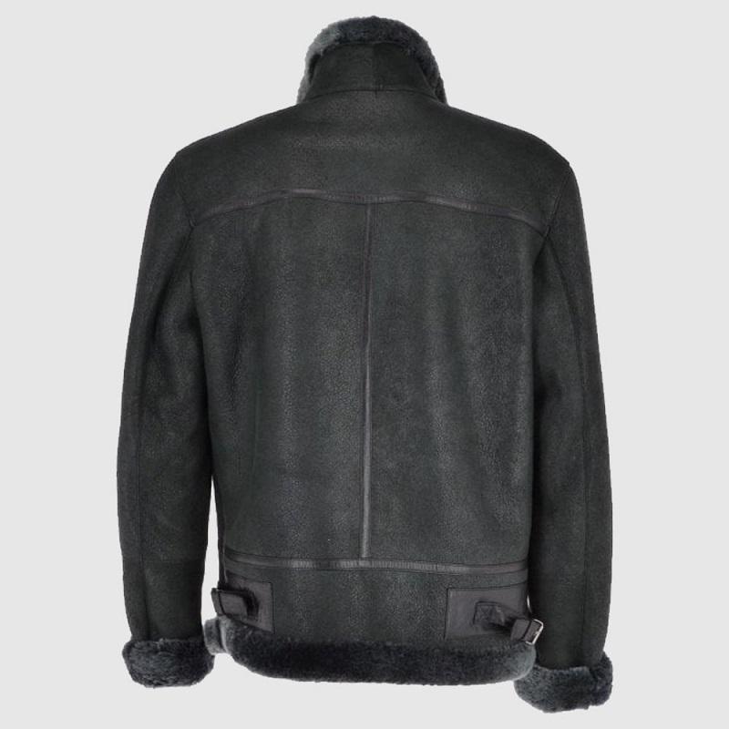 Men's Grey Leather Shearling Flight Jacket
