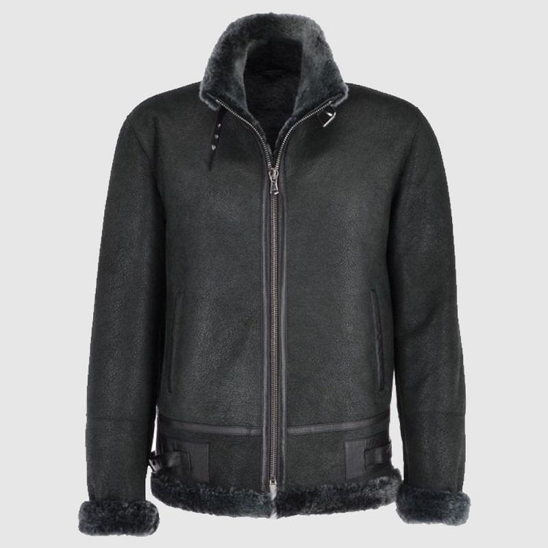 Men's Leather Shearling Flight Jacket
