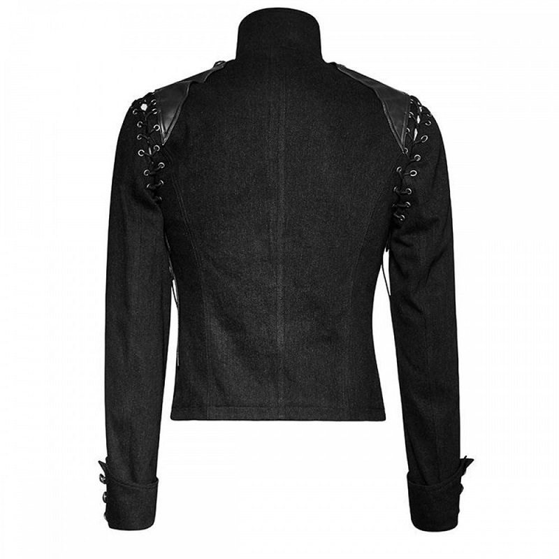 Mens Metal Black Army Short Jacket