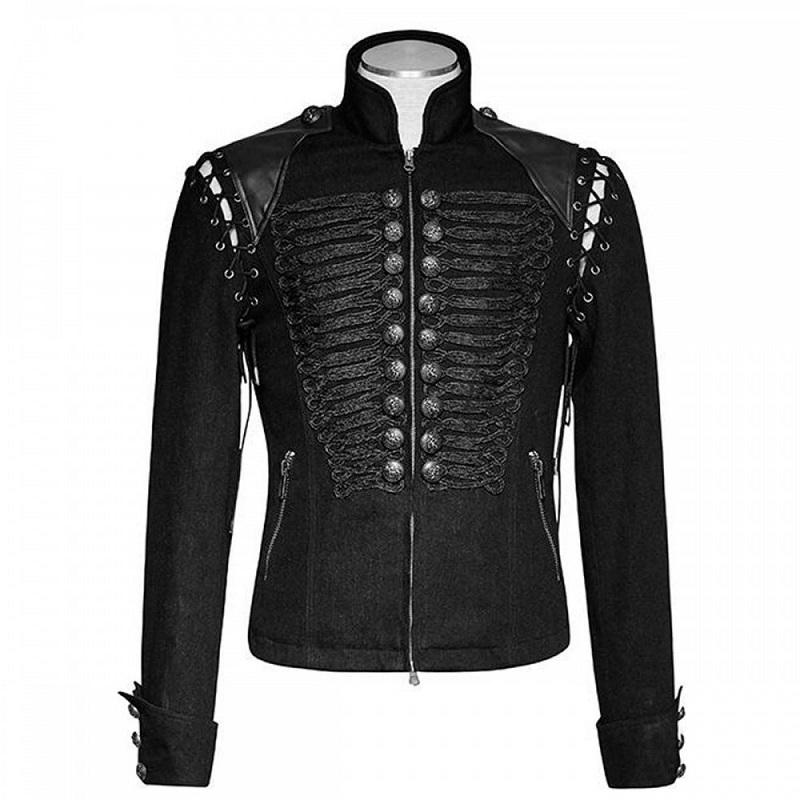 Men's Metal Black Army Short Jacket