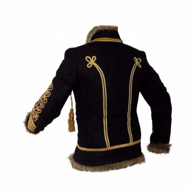 Military Uniform Napoleonic Hussar Black Jacket