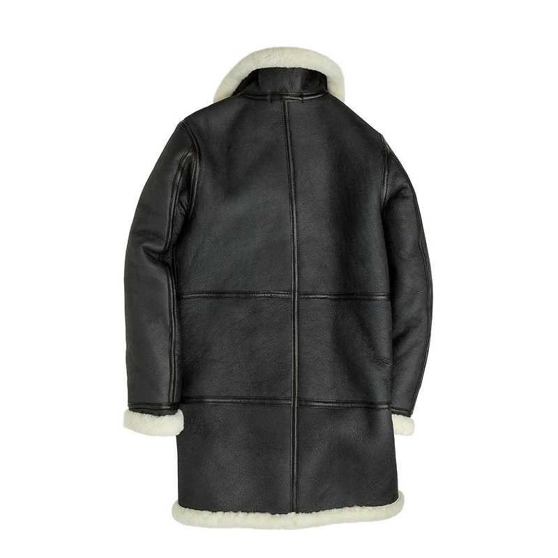 Sheepskin Leather Long Black Coat