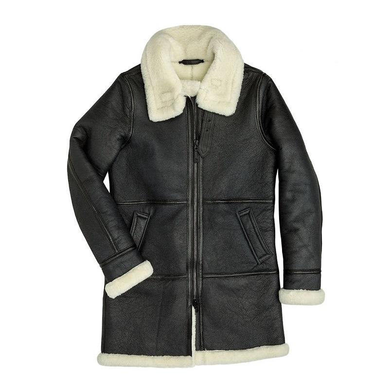 Sheepskin Leather Long Coat