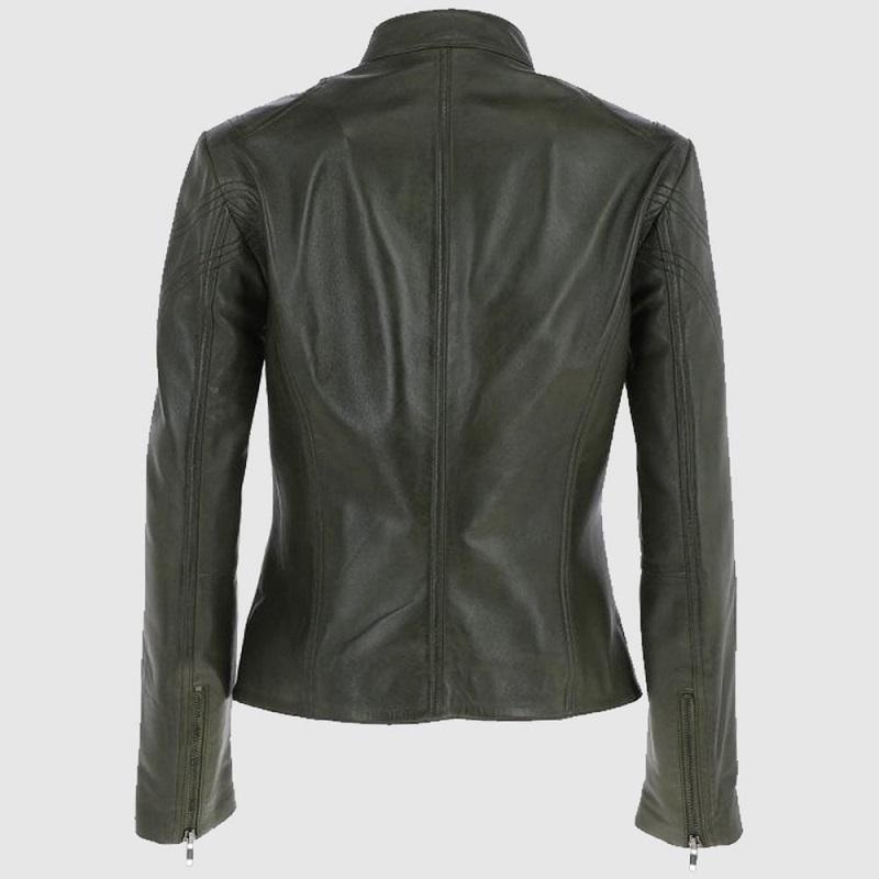 Women Green Leather Biker Jacket