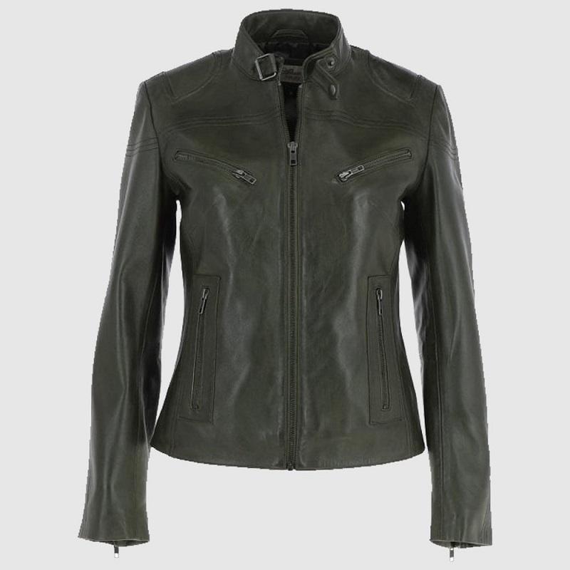 Women's Green Leather Biker Jacket
